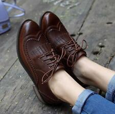 Womens Brogues wing-tip lace-up dress Vintage low heel Preppy Style oxford shoes