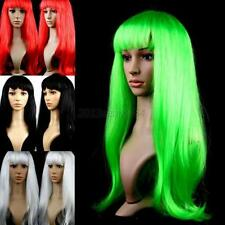 Women Girl Long Straight Wigs Hair Cosplay Party Wigs Long Bangs Multi-Colors UK