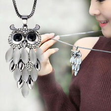 Long Sweater Chain Womens Beauty Crystal Rhinestone Owl Pendant Necklace Gifts
