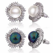 Glamorous 18k White Gold Filled sapphire Crystal women's pearl stud earrings