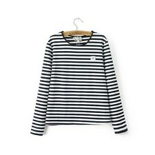 New Womens Navy Striped Long Sleeve Crewneck Pullover Blouse Tops Shirt Size SML
