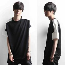 Men Smart Casual Black White Two Tone Color Block Basic Tee T-Shirt Outfit Top