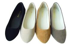 Women Ladies Faux Suede Flat Pumps Ballet Ballerina Slip On Casual Shoes Loafers