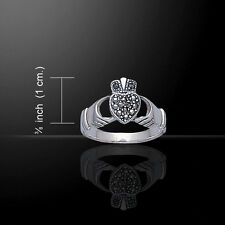 Irish Claddagh Marcasite Heart .925 Sterling Silver Ring by Peter Stone
