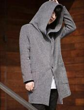 Fashion mens casual one button outwear Hooded cardigan long jacket coat  parka