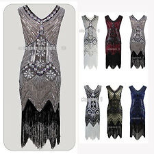 1920s Flapper Dress Costume Gatsby Charleston Sequin Beads Fringe 20s Dress 4 18