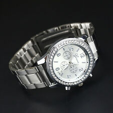 Geneva Ladies Women Men Lover Couple Stainless Steel Crystal Quartz Wrist Watch