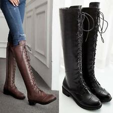 Stylish Womens Lace Up Flat Heels cowboy Knee Thigh High Hot Boots brogue shoes