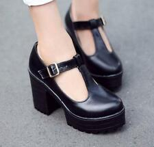 Plus SIZE Womens Chunky Heels gothic BOOTS Creeper Platform T-Strap Shoes New