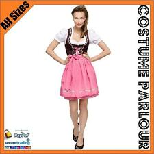 Womens Authentic Pink German Dirndl Oktoberfest  Dress Ladies Costume Sizes 6-22