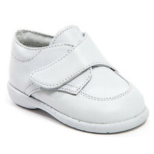 Baby Boy White Leather shoes with Hook & Loop: Size 3 to 8 Made in Mexico