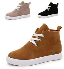 Comfy Womens Lady High Top Ankle Boots Suede Round Toe Lace Up Flat Board Shoes