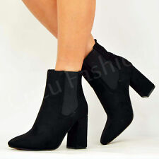 WOMENS LADIES HIGH BLOCK HEEL COWBOY ANKLE BOOTS CHELSEA BOOTIES SHOES SIZE UK