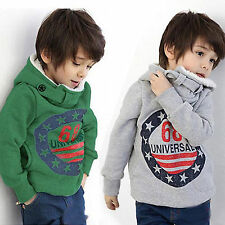 Kids Boys Girls Hoody Hoodies Sweatshirt Warm Fleece Jacket Pullover Coats Tops