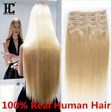 Fashion Hair Extensions 7PCS Clip In Real Remy Human Hair Extensions Straight HC