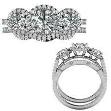 2.35 Carat G-H Diamond Designer Three Stone Halo Ring + Band 14K White Gold