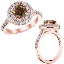 3.75 Ct Champagne Cognac Color Diamond Double Halo Engagement Ring 14K Rose Gold