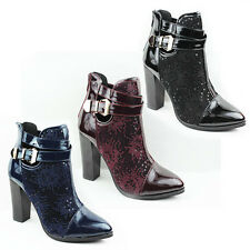 WOMENS LADIES SMART BUCKLE FASHION HIGH BLOCK HEEL ANKLE BOOTS SHOES SIZE 3-8