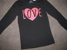 BNWT GIRLS BLACK LONG SLEEVED TSHIRT SIZE 14 TOP LOVE SPARKLY HEART