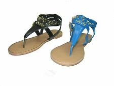 Qupid Athena-618A women's gladiator thong flip flops studs flats sandals shoes