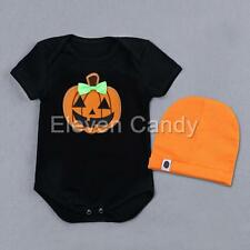 Infant Baby Boys Girls Pumpkin Romper Jumpsuit+Hat Halloween Outfit Costume Set