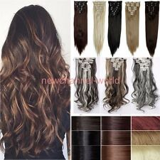 Real As Remy New 8 Piece 18Clips on Clip In Hair Extension Full Head Black Brown