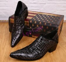 Fashion Shoes British Mens Leather Formal Pointed Toe Cuban Heels Stage Brogues