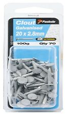 Paslode CLOUT NAILS 100g Galvanised & Flat Head Aust Brand- 20x2.8mm Or 40x2.8mm