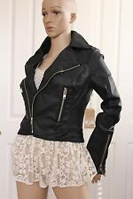 $298.00 TRUE RELIGION WOMENS jacket moto Black coated leather like sz. S, M, L