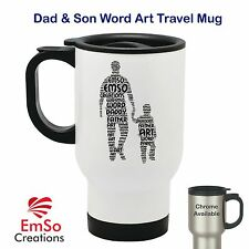 Personalised Word Art Thermal Travel Mug Cup Father & Son -Fathers Day Dad Daddy
