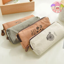 Student Women Canvas Pen Bag Pencil Case Travel Cosmetic Makeup Bags Pouch Box
