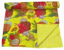 YELLOW COLOR KANTHA QUILT BEDSPREAD BLANKET THROW ETHNIC FOR HOME DECORATIVE