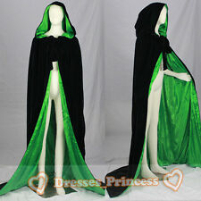 New Black Velvet/Green Silk Halloween Hooded Cloak Cape Medieval Wedding Stock