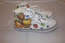 GIRLS VANS CANVAS SNEAKERS SHOPKINS HAND PAINTED UK SIZE 3 USED EXCELLENT