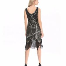 1920s 20s Flapper Dress Gatsby Charleston Deco Beaded Sequin Fringed Party Dress