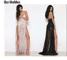 Sexy Women Sequins High-Slit Long Maxi Dress Prom Cocktail Club Stage/ Auto Show