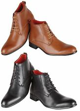 Mens Leather Lined Designer Italian Style Ankle Boots Formal Casual Boys Shoes