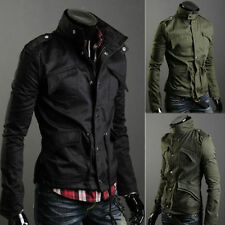 Mens Slim Jacket Zip Button Stand Collar Coat Fit Military Style Casual Overcoat