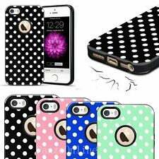 New White Textured Polka-dots Candy TPU Hard Case Cover For Apple iPhone SE 5S 5