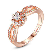 Women Fashion 18K Rose Gold Filled Sparkling Crystal Ring Jewelry Wedding Party