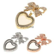 Bow Floating Memory Glass Locket Pendant Necklace Brooch Costume Jewelry Women