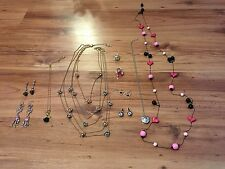 Betsey Johnson Earring Necklace Ring Jewelry Lot Skull Flowers Pink Hearts Watch