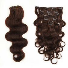 """100g120g Clip In Remy Human Hair Extensions Body Wave 18"""" 20"""" 22"""" 24"""" Dark Brown"""