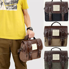 Men's Casual Vintage Canvas Leather School Military Shoulder Bag Messenger Bag
