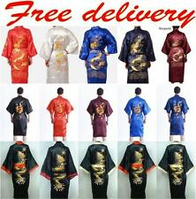 New Men's Silk/Satin Chinese Dragon Kimono Sleepwear Gown Bath Robe Nightwear000