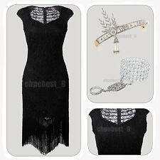 Inspired Embellished Beaded Lace 1920s Flapper Dress Gatsby 20s Cocktail Costume
