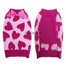 Heart Pattern Pet Dog Turtleneck Jumper Warm Sweater Clothes Apparel Size XS-L