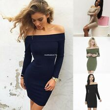 Women Sexy Long Sleeve Off Shoulder Evening Cocktail Pencil Bodycon Dress New