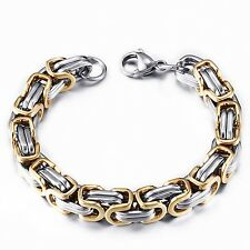 1pc Stainless Steel Bracelet Chain Thick Silver Gold Colour Charm Bangle Punk