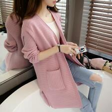 Women Autumn Winter Long Sleeve Slim Knitted Cardigan Loose Sweater Coat Top